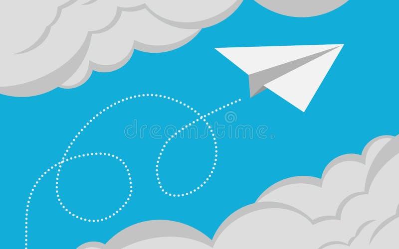 Vuelo plano del Libro Blanco en el cielo azul ilustración del vector