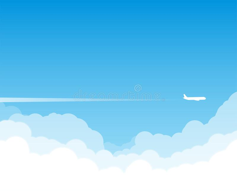 Vuelo plano sobre las nubes ilustración del vector