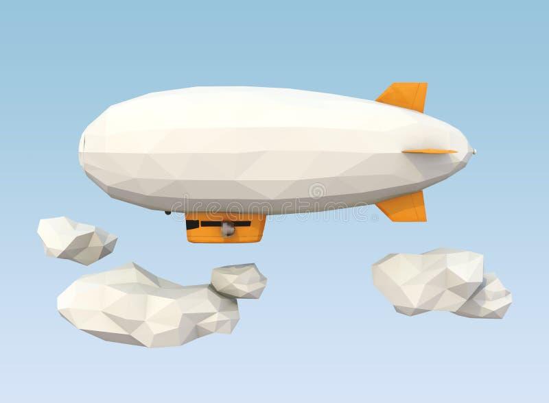 Vuelo polivinílico bajo del dirigible no rígido en el cielo ilustración del vector