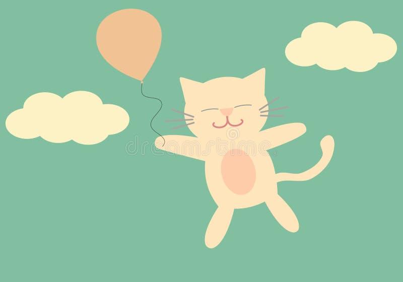 Vuelo precioso del gato de la historieta en el cielo con el ejemplo lindo del fondo del globo ilustración del vector