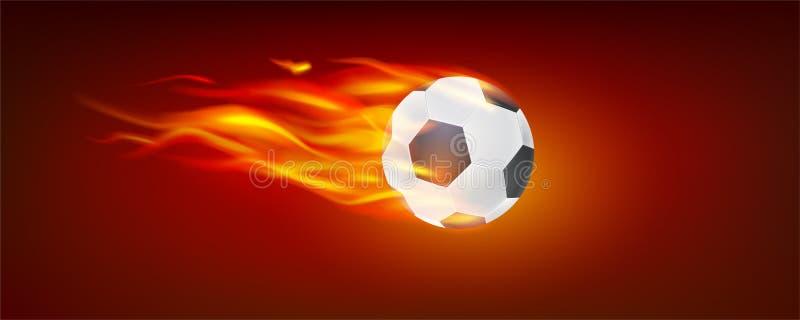 Vuelo realista que quema la bola clásica del fútbol Icono del balón de fútbol en fuego ilustración del vector 3d Símbolo de libre illustration