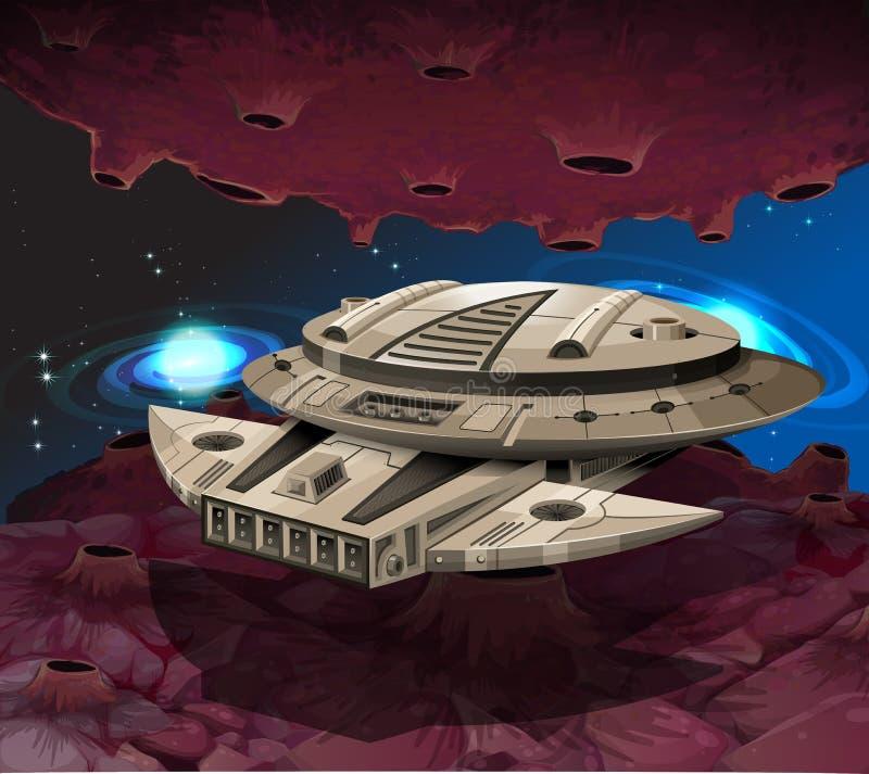 Vuelo redondo de la nave espacial en la galaxia ilustración del vector