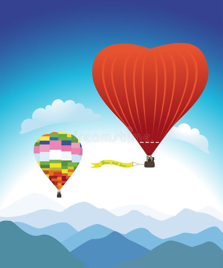 Vuelo romántico del globo del aire caliente ilustración del vector