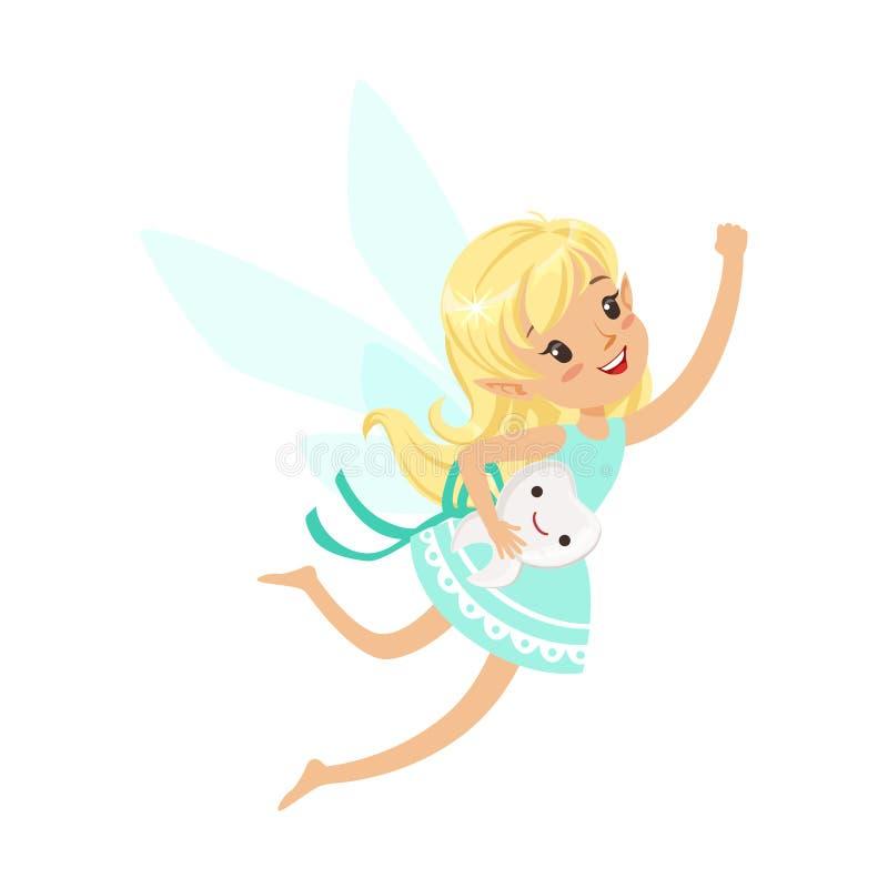 Vuelo rubio dulce hermoso de la muchacha del ratoncito Pérez con el ejemplo colorido sonriente del vector del personaje de dibujo ilustración del vector