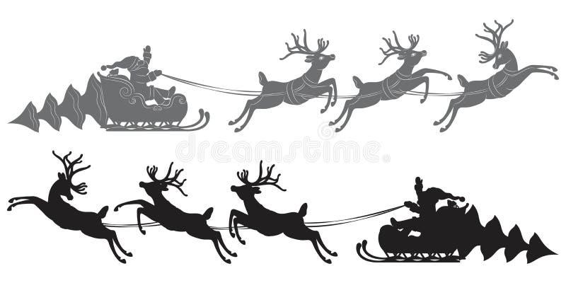 Vuelo Santa Claus en un trineo del reno libre illustration