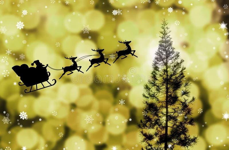 Vuelo sobre árbol, tema del trineo de Papá Noel de la Navidad stock de ilustración