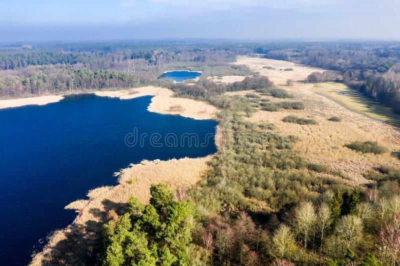 Vuelo sobre el lago y el bosque maravillosos, Polonia fotos de archivo libres de regalías