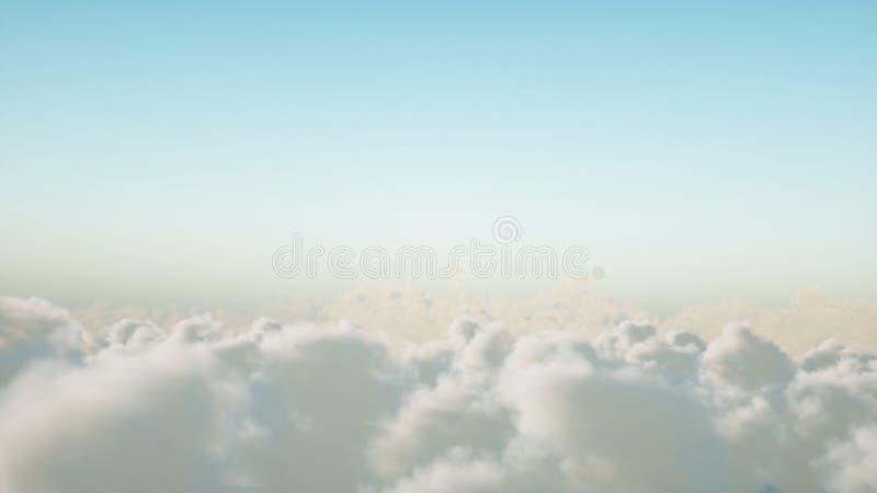 Vuelo sobre las nubes representación 3d stock de ilustración