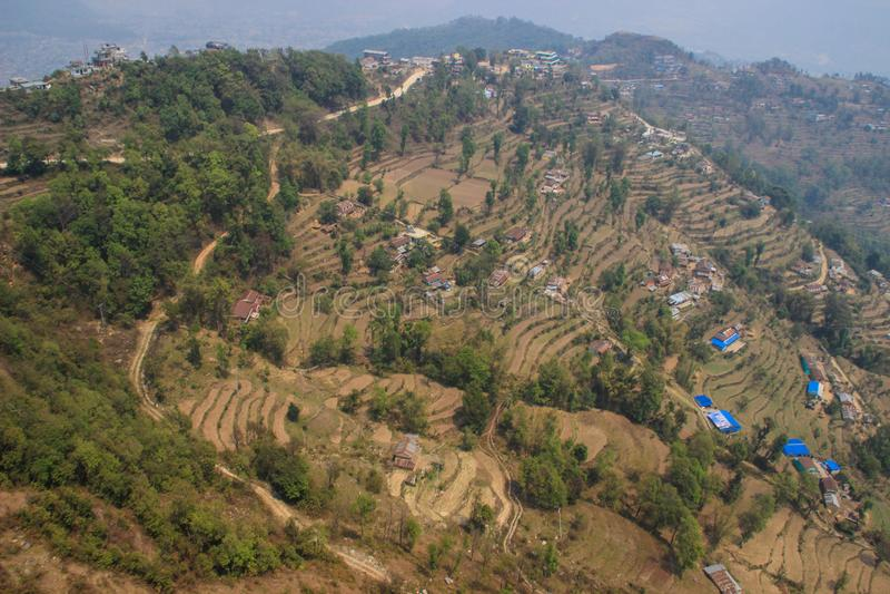 Vuelo sobre Pokahara, Nepal Terrazas del arroz foto de archivo
