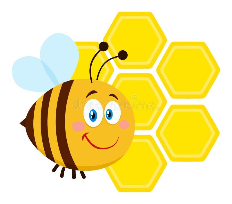 Vuelo sonriente de la abeja del personaje de dibujos animados de la abeja en los panales de Front Of A fotografía de archivo libre de regalías