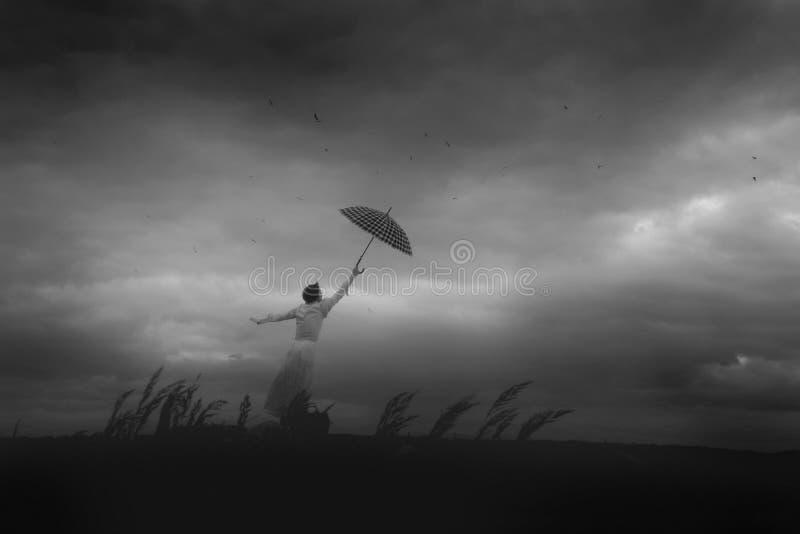 Vuelos por el paraguas fotos de archivo