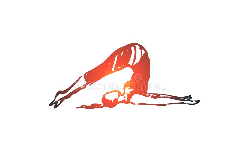 Vuelqúese, yoga, actitud, asana, concepto de la balanza Vector aislado dibujado mano libre illustration
