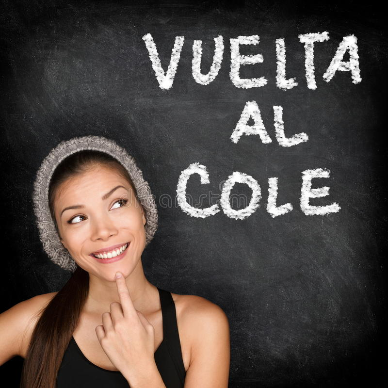 Vuelta al cole - Spanish student back to school. Vuelta al cole - Spanish college university student woman thinking Back to School written in Spanish on stock images