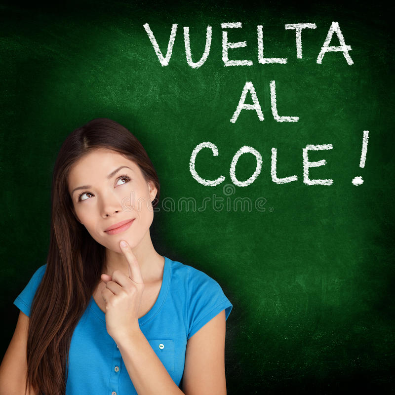 Vuelta al cole - Spanish student back to school. Vuelta al cole - Spanish college university student woman thinking Back to School written in Spanish on royalty free stock image