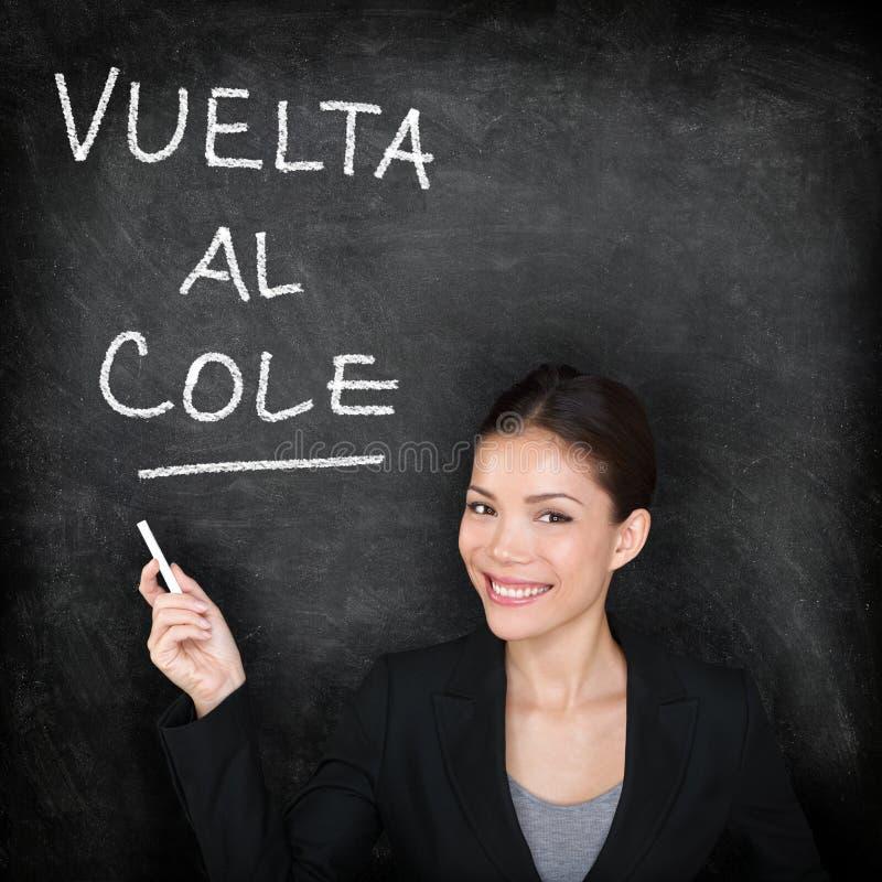 Vuelta al cole - Spanish teacher back to school. Vuelta al cole - Spanish teacher woman. Back to School written in Spanish on blackboard by female on chalkboard stock image