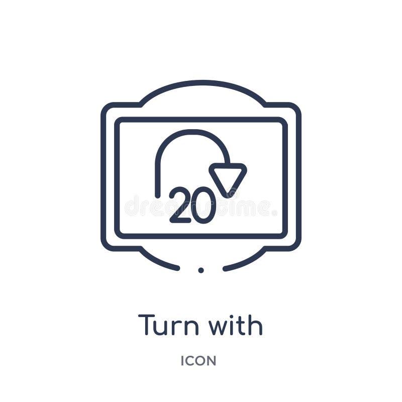 vuelta con el icono consultivo de la velocidad de la colección del esquema de las señales de tráfico Línea fina vuelta con el ico libre illustration