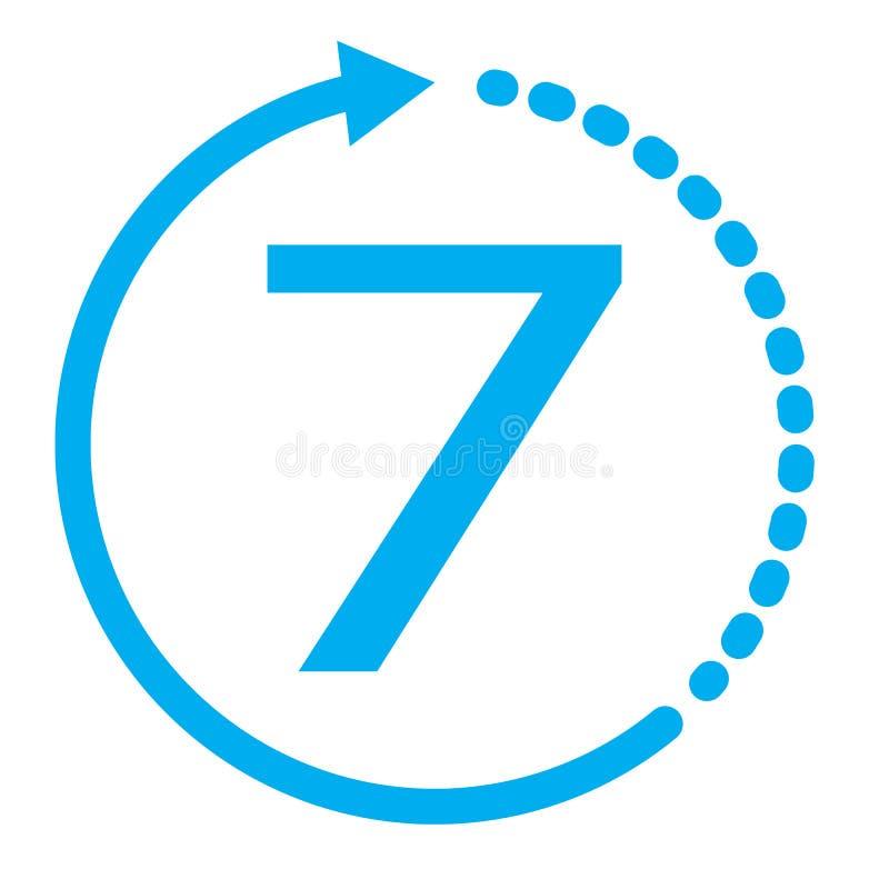 Vuelta de mercancías dentro del icono de 7 días 7 días en el fondo blanco icono azul del servicio de siete días S?mbolo del inter stock de ilustración