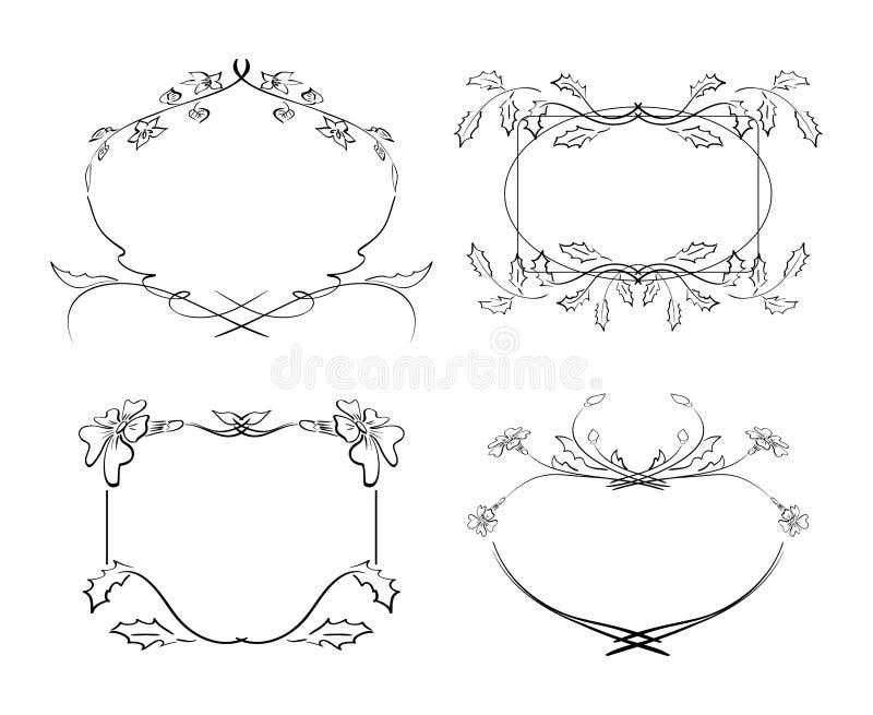 Vues avec des fleurs - ensemble illustration de vecteur