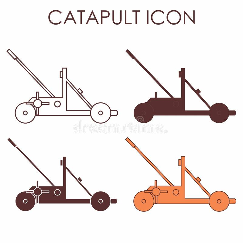 Vues colorées et multiples d'icône classique de catapulte illustration de vecteur