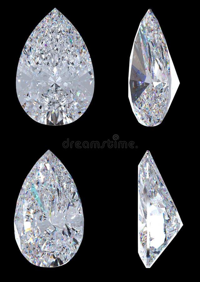 Vues de côté de dessus, bas et de diamant de poire illustration libre de droits