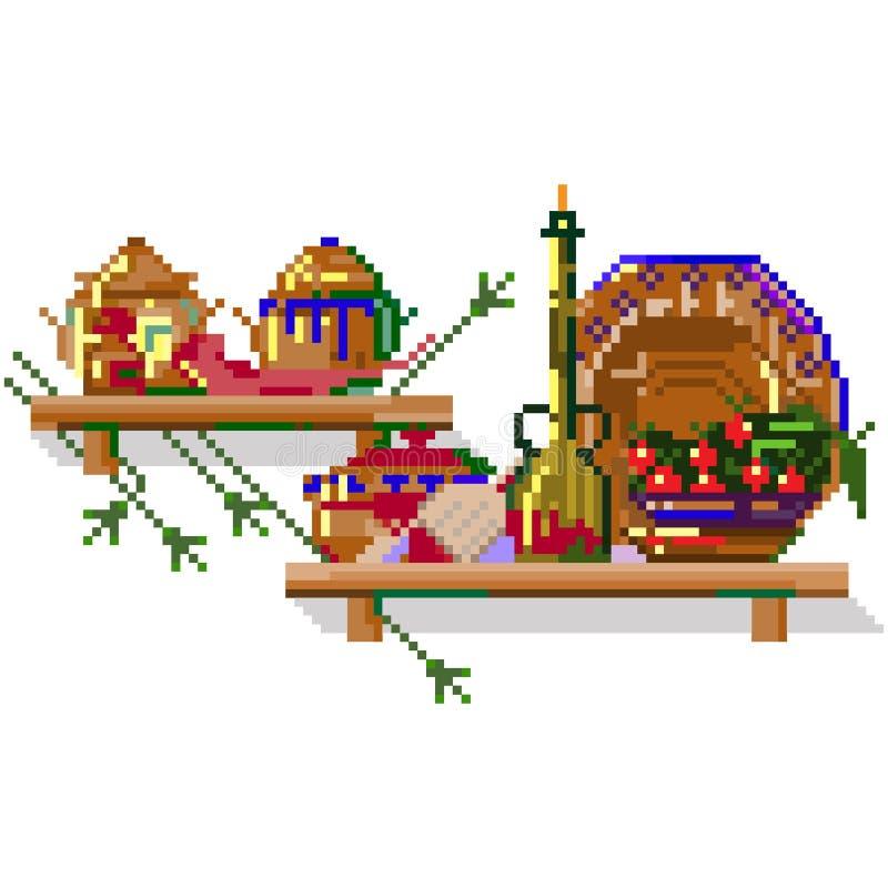 Vues de cuisine Icônes de style d'art de pixel Illustration d'isolement de vecteur illustration libre de droits