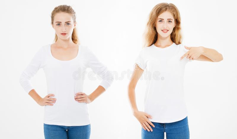 Vues de face ensemble, femme de collage jolie dans le T-shirt et longue chemise de douille d'isolement sur le fond blanc, calibre images libres de droits