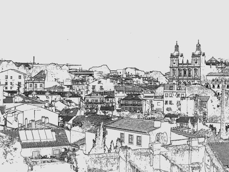 Vues de Lisbonne New Look dessins gravure images stock
