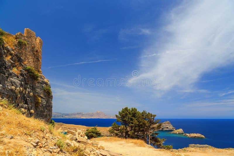 Vues de mer et falaises et baie sur le mur de fond de l'Acropole antique de forteresse photo stock