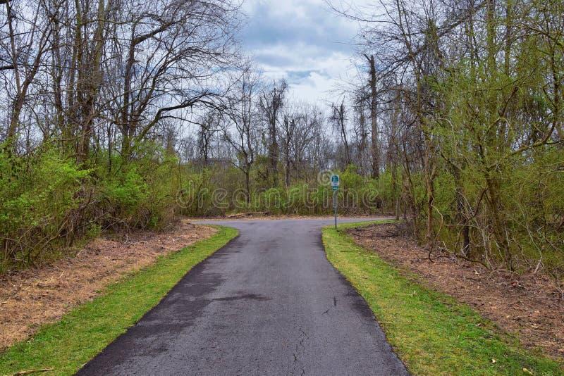Vues de nature et de voies le long de Shelby Bottoms Greenway et des traînées naturelles de façade de la rivière Cumberland de se photographie stock