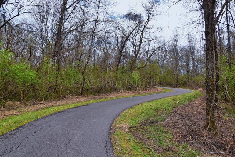 Vues de nature et de voies le long de Shelby Bottoms Greenway et des traînées naturelles de façade de la rivière Cumberland de se photo stock