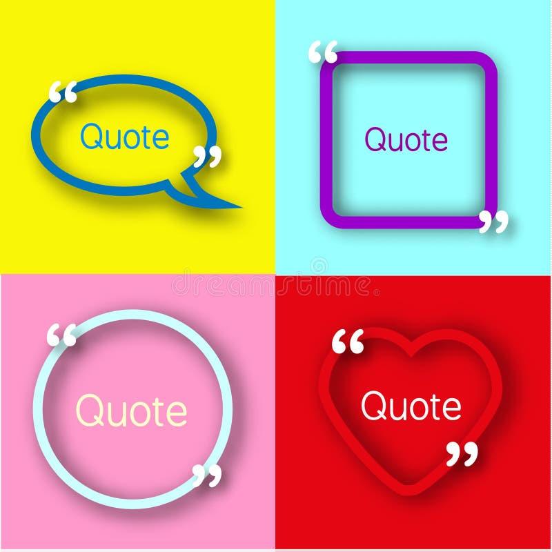 Vues de papier colorées avec des virgules pour votre texte Citez les bulles dans le style réaliste sur les milieux lumineux Descr illustration de vecteur