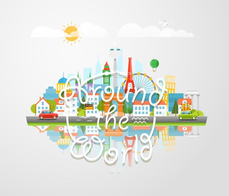 Vues de renommée mondiale de Dirrefent Autour du monde illustration libre de droits