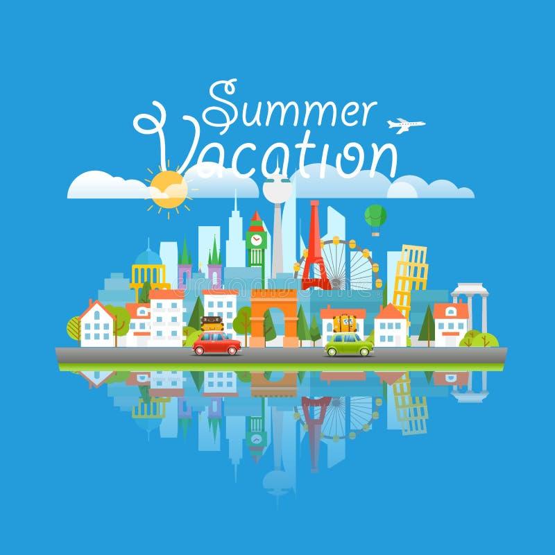Vues de renommée mondiale de Dirrefent Concep de déplacement de vacances d'été illustration stock
