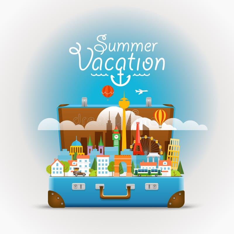 Vues de renommée mondiale de Dirrefent Vacances d'été illustration stock