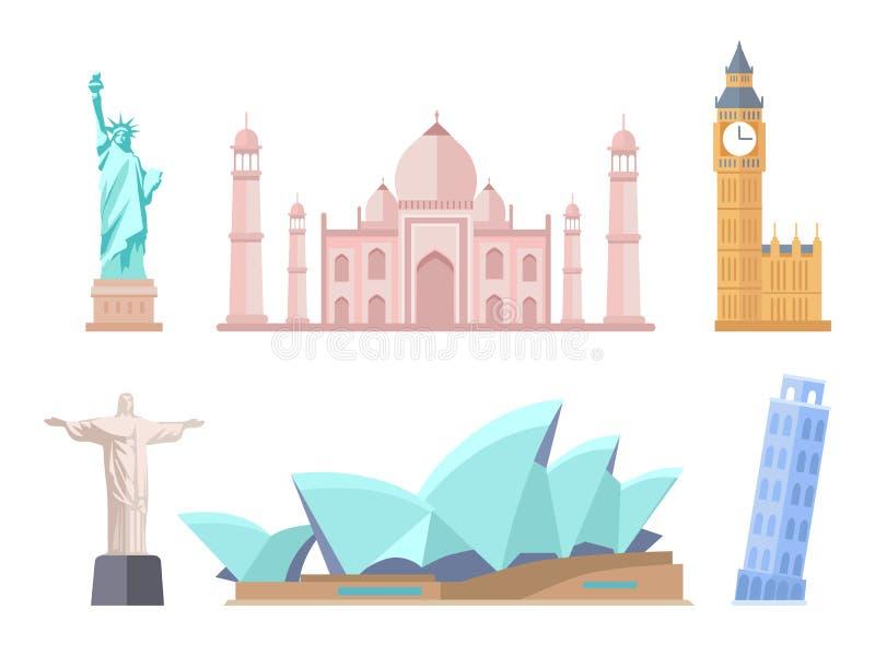 Vues de renommée mondiale de moderne et des styles anciens réglés illustration stock