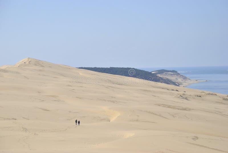 Vues de rivage de dune et d'océan de Pilat photo libre de droits