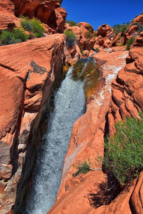 Vues des cascades aux automnes de r?servoir de parc d'?tat de Gunlock, dans le Gunlock, l'Utah par St George Ressort coul? au-des images libres de droits