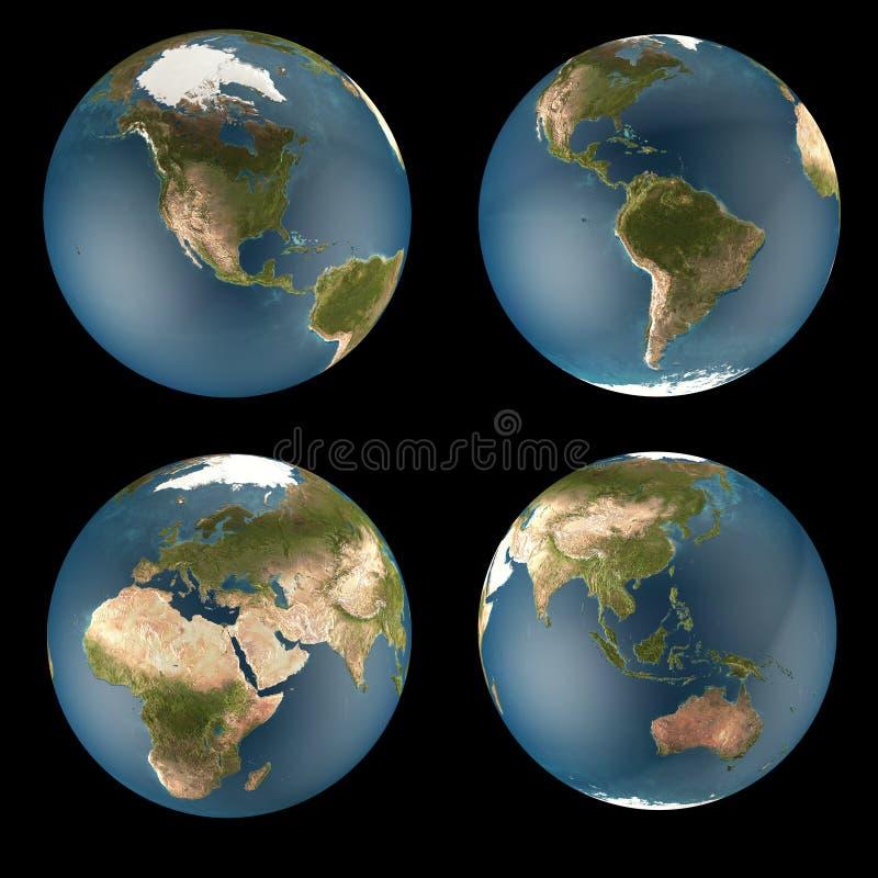 Vues du globe 4 du monde illustration de vecteur
