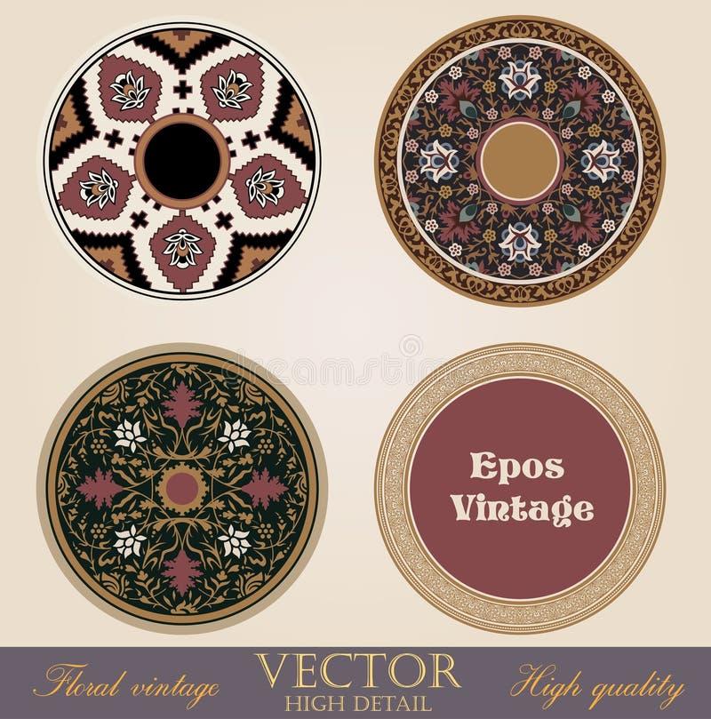 Vues et cadres de cercle de cru. illustration de vecteur