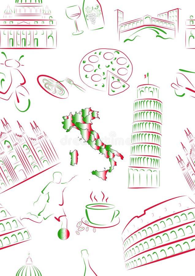 Vues et symboles d'Italien sans joint. illustration de vecteur