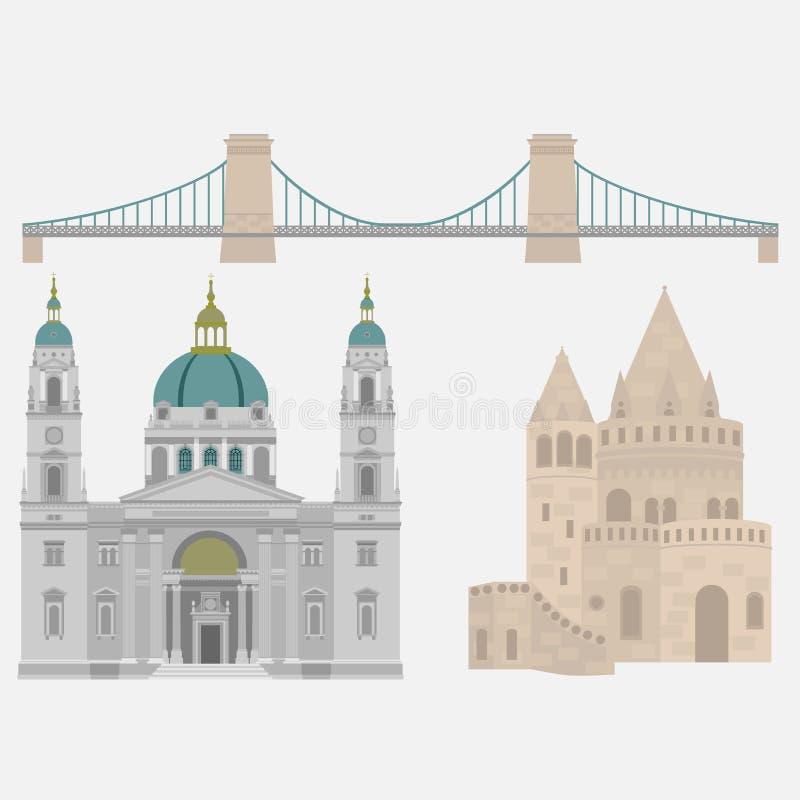 Vues hongroises de ville dans des éléments pont à chaînes, bastion du ` s de pêcheur, St d'architecture de voyage et de voyage de illustration libre de droits