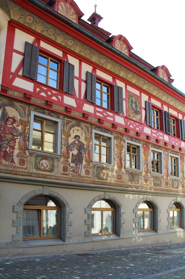 Vues magnifiques des bâtiments du centre Chope en grès-être-rhein, Suisse image libre de droits