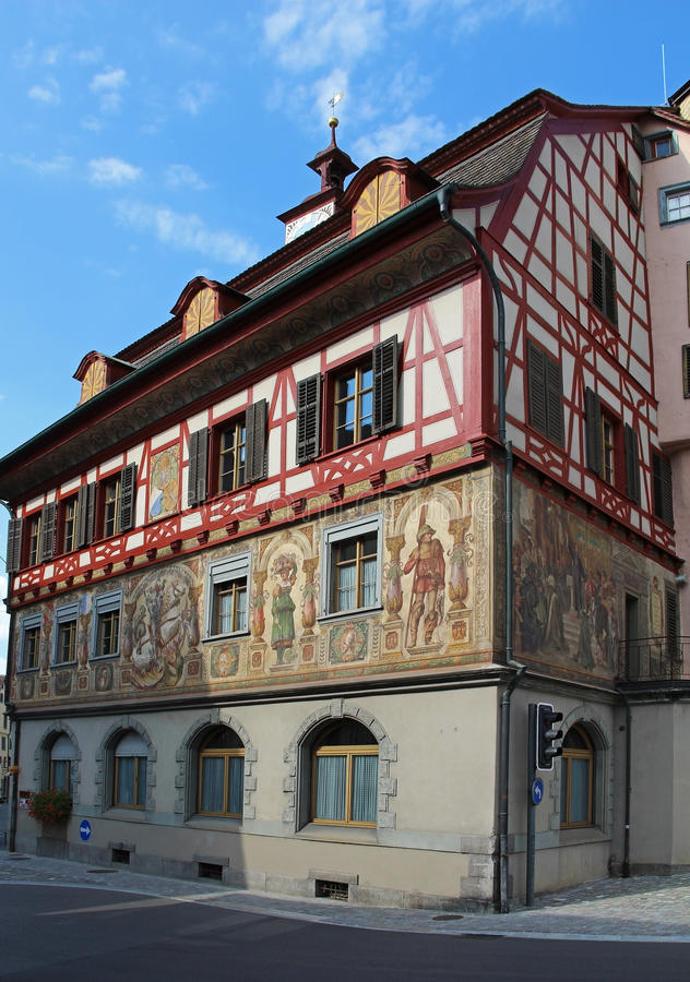 Vues magnifiques des bâtiments du centre Chope en grès-être-rhein, Suisse photographie stock