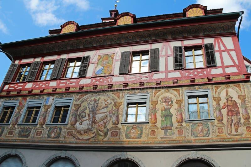 Vues magnifiques des bâtiments du centre Chope en grès-être-rhein, Suisse photos libres de droits