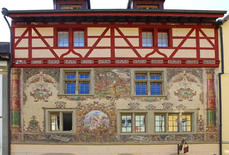 Vues magnifiques des bâtiments du centre Chope en grès-être-rhein, Suisse photos stock