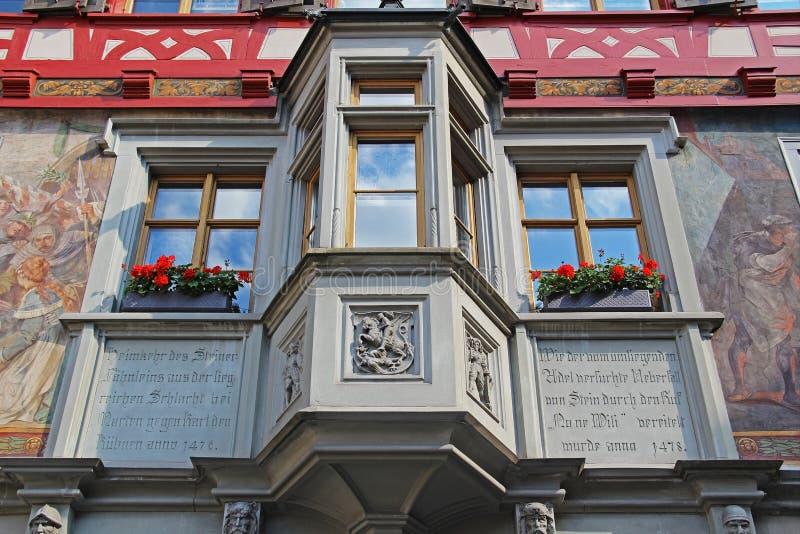 Vues magnifiques des bâtiments du centre Chope en grès-être-rhein, Suisse image stock