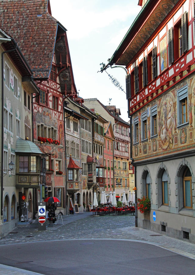 Vues magnifiques des bâtiments du centre Chope en grès-être-rhein, Suisse photo stock