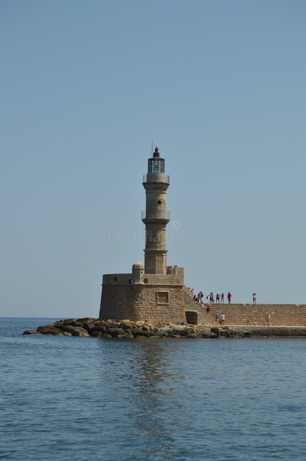 Vues magnifiques du phare d'antiquité dans le port de Chania Voyage d'architecture d'histoire photographie stock