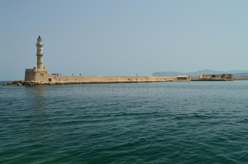 Vues magnifiques du phare d'antiquité dans le port de Chania Voyage d'architecture d'histoire images stock