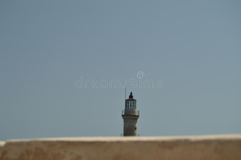Vues magnifiques du phare d'antiquité dans le port de Chania Voyage d'architecture d'histoire photos libres de droits